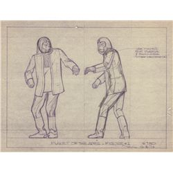 Original Production Drawing for Planet of the Apes Addar Model Kit Figure