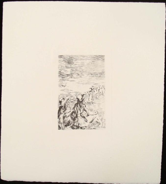 Pierre-Auguste Renoir ON THE BEACH Signed Etching SUR LA PLAGE