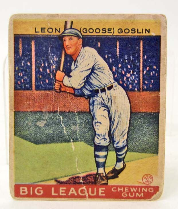1933 Goudey Big League Gum Baseball Card Goose Goslin