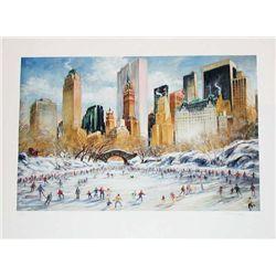 Kamil Kubik, Skating in Central Park, Signed Print