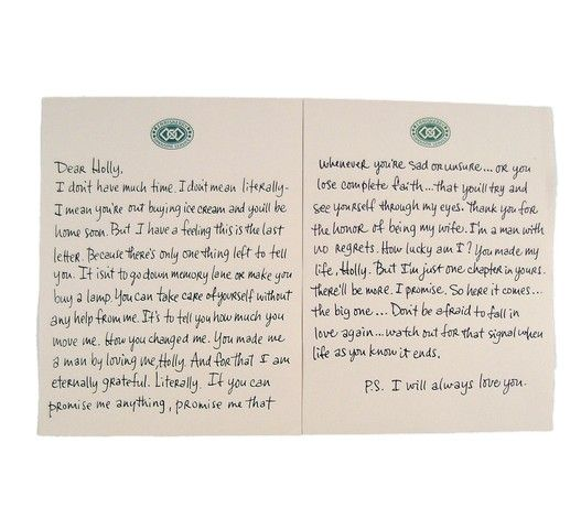 P S  I Love You Final Letter And Envelope to Holly (Hilary