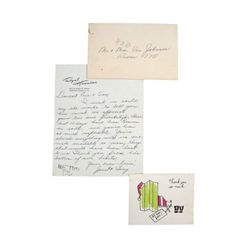 Tony Curtis & Janet Leigh Handwritten Signed Thank You Notes