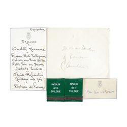 Handwritten Menu For A Luncheon At Duke & Duchess Of Winsor Estate