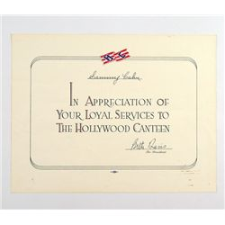 Hollywood Canteen Original Certificate Of Appreciation For Sammy Cahn (1944)