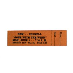 Gone With The Wind Original Theatre Ticket (1940)