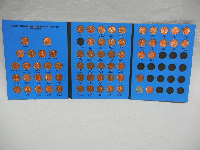 Lincoln Memorial Penny Collection Book, 1959-1986, missing 1970-S Lg  Dt