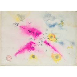 Chinese Watercolour on Paper Framed 1971 WJ Choy