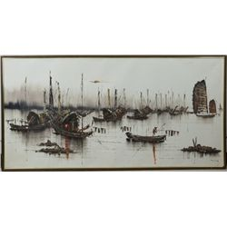 Oriental Oil Painting Framed Signed Ming