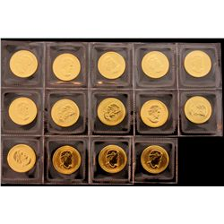 BULLION: [14] 2008 $5 1/10 oz. Canadian Gold Maple Leaf 9999 fine gold.