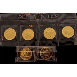 BULLION: [6] 2008 $10 1/4 oz. Canadian Gold Maple Leaf 9999 fine gold.