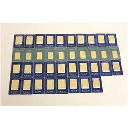 BULLION: [38] (28) 1 oz. gold ingots PAMP Suisse 999.9 fine gold and (10) Perth Mint 99.99 fine gold
