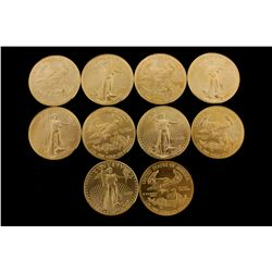 COINS: [10] $50 American Eagle gold coins, 1 oz, 2000.