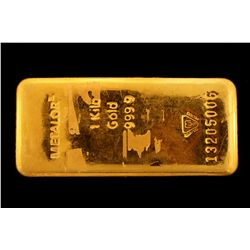 BULLION: [1] kilogram 9999 fine gold bar; Metalor Refinery; Bar Number 13205006.