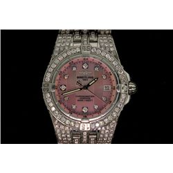 WATCH:  [1]  Stainless steel ladies Breitling Windrider Starliner quartz watch with a pink dial and