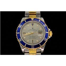WATCH: [1] Mens st.steel & 18ky Rolex O.P. Submariner Date wristwatch; factory steel dial w/ diamond