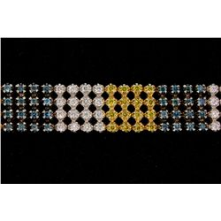 BRACELET: [1] Mens 14kw illusion set treated yellow, blue, & white diamond link bracelet; 4 row moti