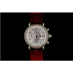 WATCH: [1] Ladys st.steel Michele CSX diamond chronograph wristwatch; bezel w/ 100 rd dias, 1.2mm =