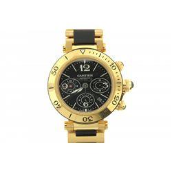 WATCH: [1] Gents 18ky Cartier Pasha Seatimer chronograph wristwatch; black dial w/ 3 oval black sub-