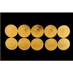 COINS: [10] $50 Canadian Maple Leaf gold coins, .9999, 1 Troy oz, 2003.