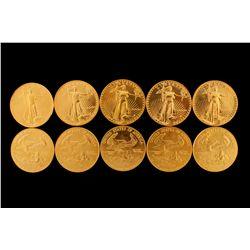 COINS: [10] $50 American Eagle gold coins, 1 oz, 1990.
