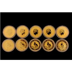 COIN: [10] $100 Australian Nugget gold coin, .9999, 1 Troy oz, 2001.