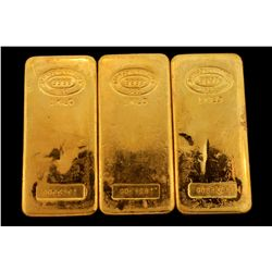 BULLION: [3] One kilogram Johnson Matthey .9999 fine gold bars.