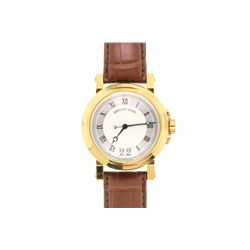 WATCH: [1] Gent's Breguet Hologer De La Marine 18k yellow gold with brown leather band wristwatch. 4