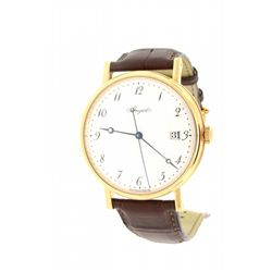 WATCH: [1] Gent's Breguet 18k yellow gold wristwatch with brown band. Exhibition back. Model 2088AN/