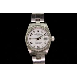 WATCH:  [1] Ladies stainless steel Oyster Perpetual Date Rolex wristwatch, 26mm diameter with white