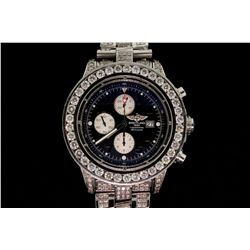 WATCH: [1] Gents Brietling stainless steel and diamond Super Avenger wristwatch with custom dia beze