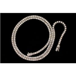 NECKLACE: [1] 14kwg (tested) and dia necklace, 32  long. Prong set with (178) 3.8mm rbc dias I1 clar