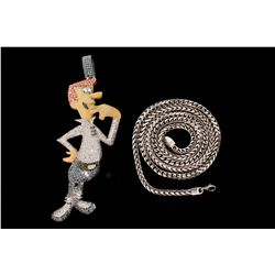 NECKLACE AND PENDANT: [2] George Jetson figural dia, enamel and 10kwg (tested) pendant and 10kwg cha