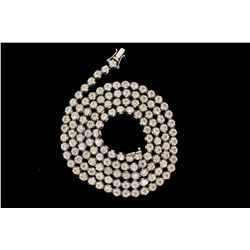 NECKLACE:  [1] 14KWG (acid tested) necklace set with 131 rd brilliant cut diamonds, 4.1 to 4.6mms in