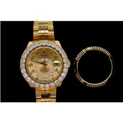 WATCH: [1] Mens 18kt yellow Rolex O.P. Sky Dweller wristwatch w/ aftmkt clarity enhanced diamond bez