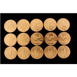 COINS: [15] $50 American Eagle gold coins, 1 oz, 2001.