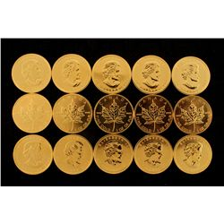 COINS: [15] $50 Canadian Maple Leaf gold coins, .9999, 1 Troy oz, 2004.