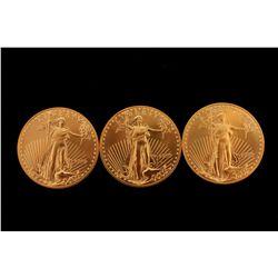 COINS: [3] $50 American Eagle gold coins, 1 oz, 1999.