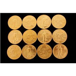 COINS: [12] $50 American Eagle gold coins, 1 oz, 1992.