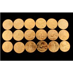 COINS: [18] $50 American Eagle gold coins, 1 oz, 1995.