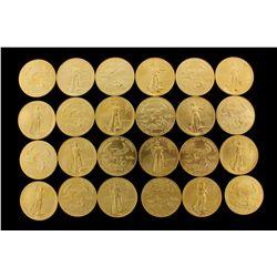 COINS: [24] $50 American Eagle gold coins, 1 oz, 1989.