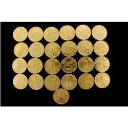 COINS: [25] $50 American Eagle gold coins, 1 oz, 1991.
