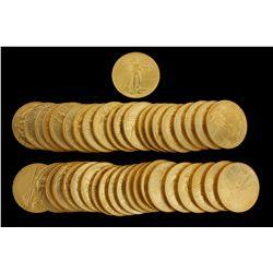 COINS: [41] $50 American Eagle gold coins, 1 oz, 1988.