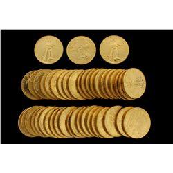 COINS: [43] $50 American Eagle gold coins, 1 oz, 1990.