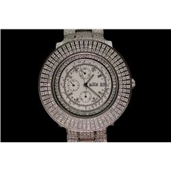 WATCH: [1] Gents stainless steel and dia Freeze watch. Inner bezel set with round CZ's, outer bezel
