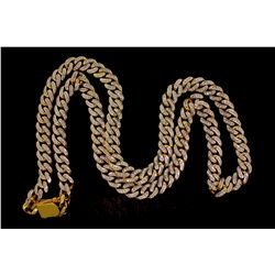 CHAIN: [1] Mens 14ky curb link chain necklace w/ diamonds (front only); 964 rb dias, 1.8mm-1.9mm = e