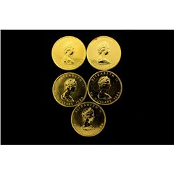 COINS: [5] $50 Canadian Maple Leaf gold coins, .9999, 1 Troy oz, 1986.