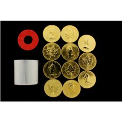 COINS: [11] $50 Canadian Maple Leaf gold coins, .9999, 1 Troy oz, 1984.