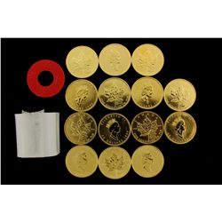 COINS: [14] $50 Canadian Maple Leaf gold coins, .9999, 1 Troy oz, 1999.