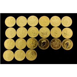 COINS: [21] $50 Canadian Maple Leaf gold coins, .9999, 1 Troy oz, 1990.