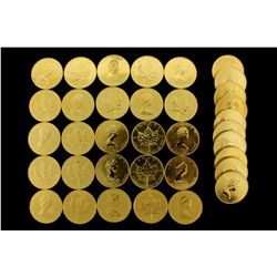 COINS: [35] $50 Canadian Maple Leaf gold coins, .9999, 1 Troy oz, 1985.